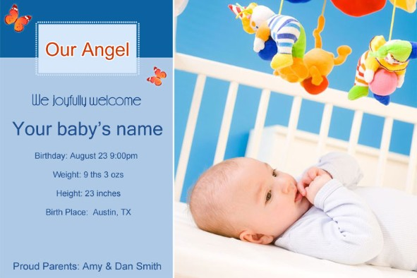 Free photo templates Baby Birth Announcement 2 – Birth Announcement Examples