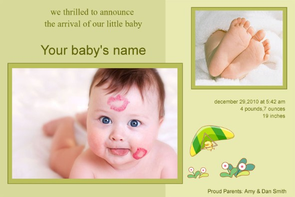 Free photo templates Baby Birth Announcement 2 – Free Birth Announcement Templates Photoshop