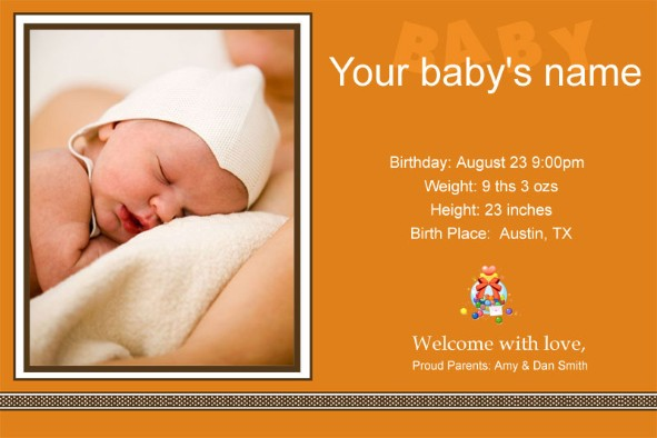 Free baby announcement template for Free online baby announcement templates