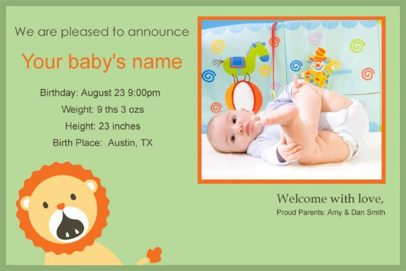 Free photo templates Baby Birth Announcement 2 – Baby Announcement Template Free