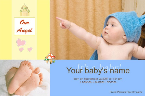 Free photo templates Baby Birth Announcement 2 – Free Baby Announcement Templates