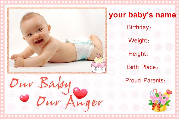 Free photo templates Baby Birth Announcement – Free Birth Announcement Templates Photoshop