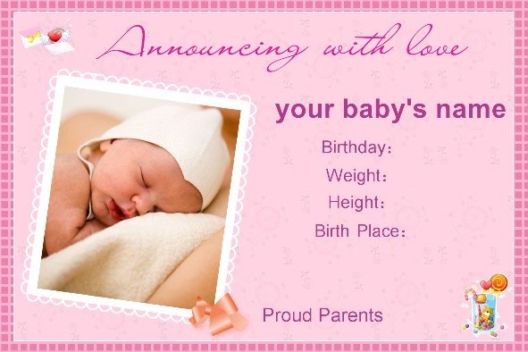 Free photo templates Baby Birth Announcement – Baby Announcement Template Free