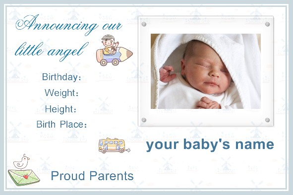 Free photo templates Baby Birth Announcement – Baby Boy Birth Announcements Templates