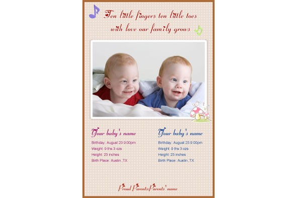 Free photo templates download Baby Birth Announcement – Free Birth Announcement Templates Photoshop