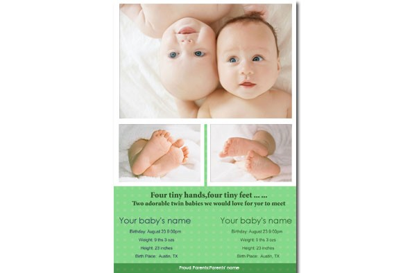 baby birth announcement template