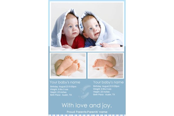 Baby Birth Announcement photo templates Twins Baby Birth Announcement