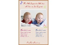 Baby & Kids photo templates Twins Baby Birth Announcement